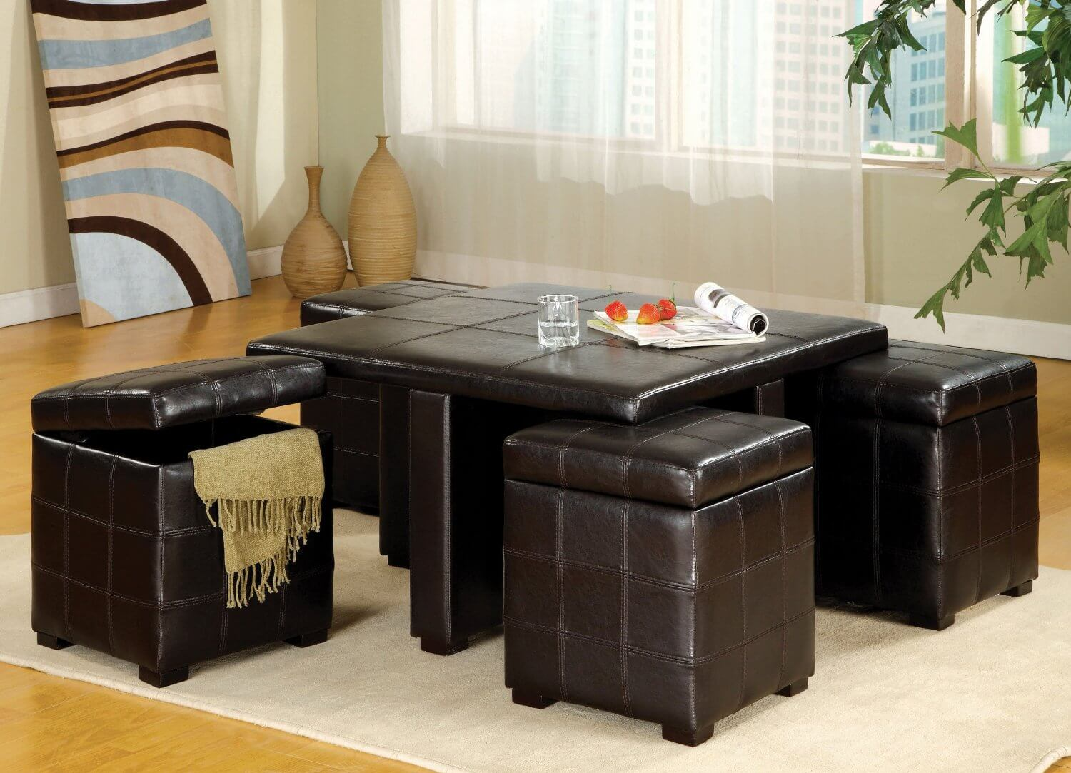 Luxurious Coffee Table Ottoman With Storage. Luxurious Coffee Table And  Ottoman With Storage