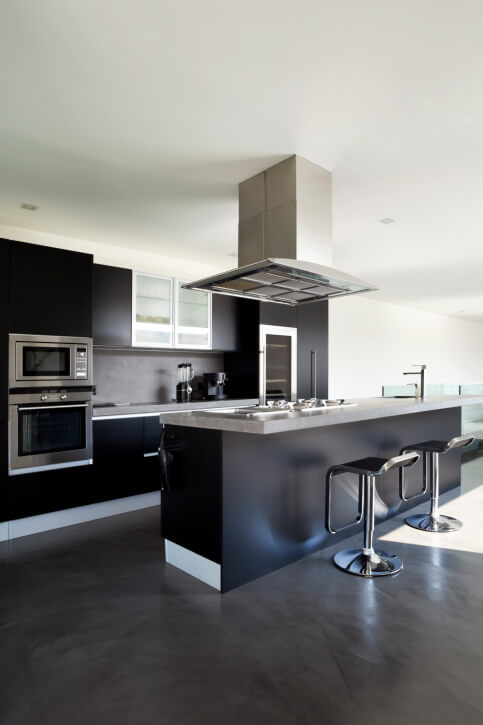 Modern Kitchen Design With Black Cabinetry On Dark Brown Floor. Part 59