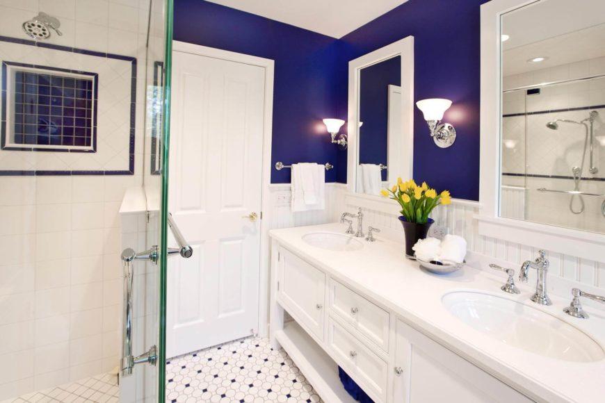 Сине белая ванная комната дизайн