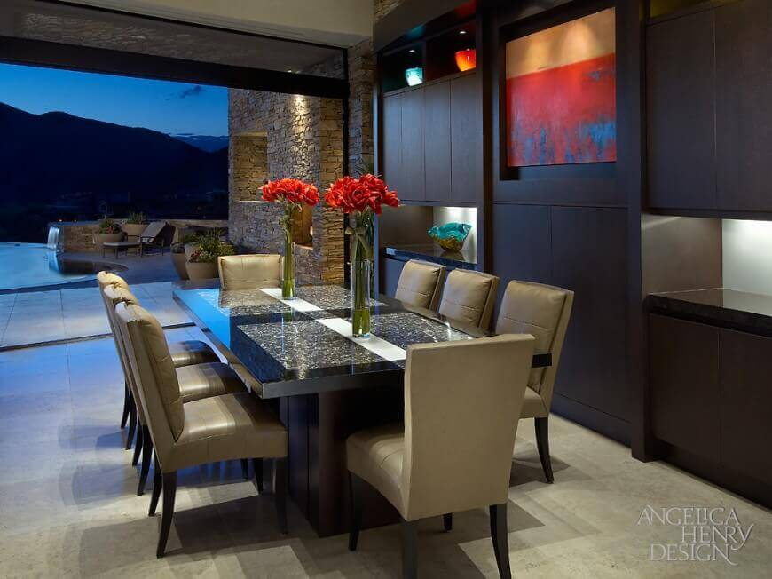 37 beautiful dining room designs from top designers worldwide for Modern dining suites