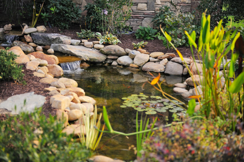 37 backyard pond ideas designs pictures for Ornamental pond waterfall