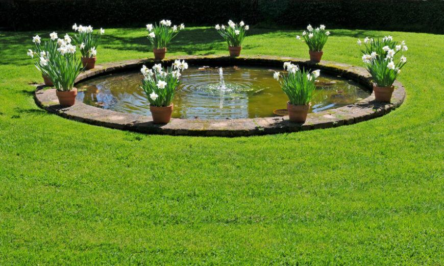 37 backyard pond ideas designs pictures for Planter fish pond