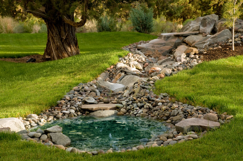 Small Backyard Pond Designs peachy small garden ponds exquisite ideas small garden pond designs A Small Shallow Blue Pool Of Water At The Bottom Of A Cascade Of Stones