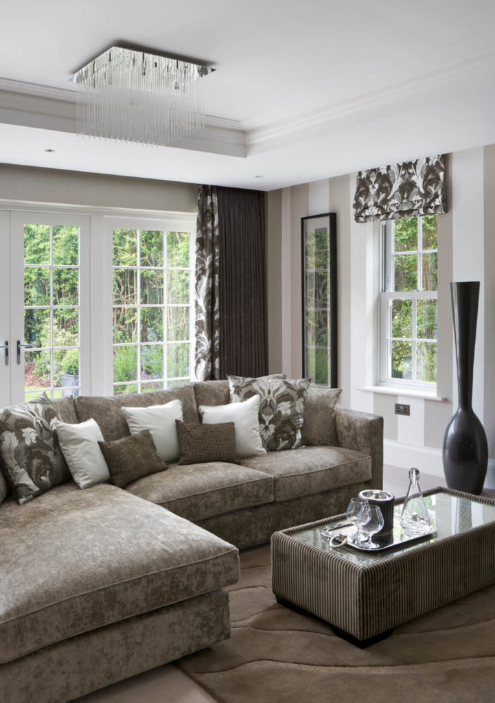 A Multi Textured Elegant Living Room The Sofa Is In Soft Gray Suede