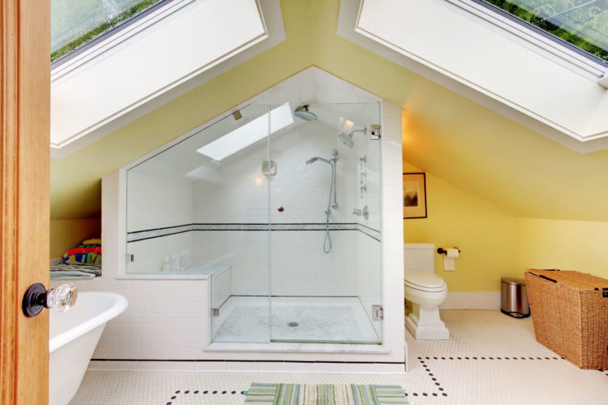 An attic bathroom under a pointed roof with two enormous skylights  The  huge shower enclosure. 34 Attic Bathroom Ideas and Designs