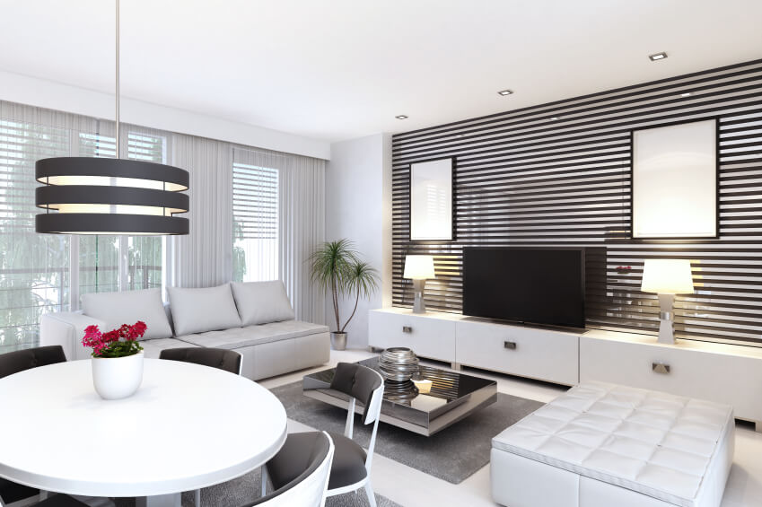 Modernity In White And Stripes Dominates This Room The Living Area Itself Is Rather