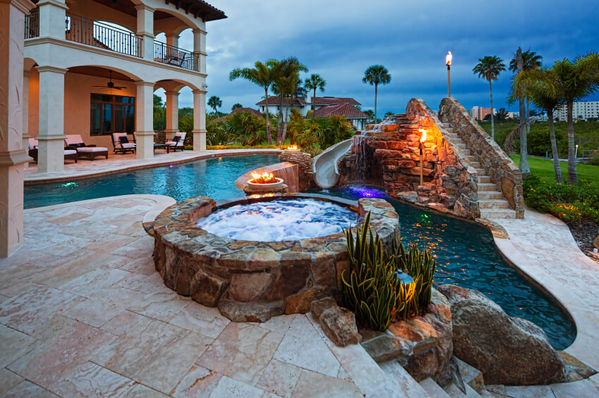Upscale Backyard Outdoor In Ground Swimming Pools