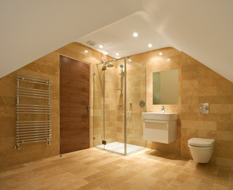 loft conversion lighting ideas - 34 Attic Bathroom Ideas and Designs