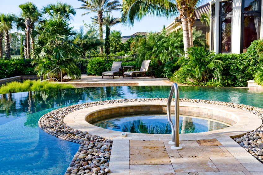 Swimming pool garden design  50 Upscale Backyard Outdoor In-Ground Swimming Pools - Décoration ...