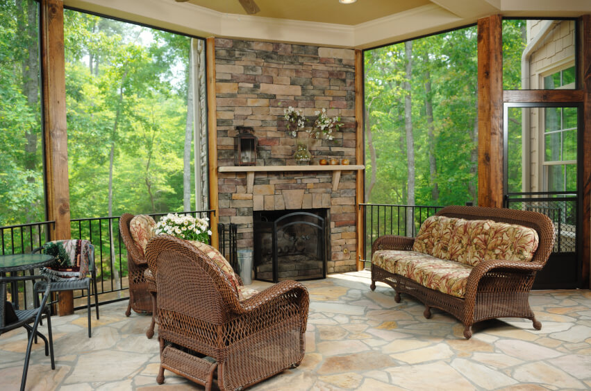 this lovely covered patio is also a three season room with removable glass the - Back Porch Patio Ideas