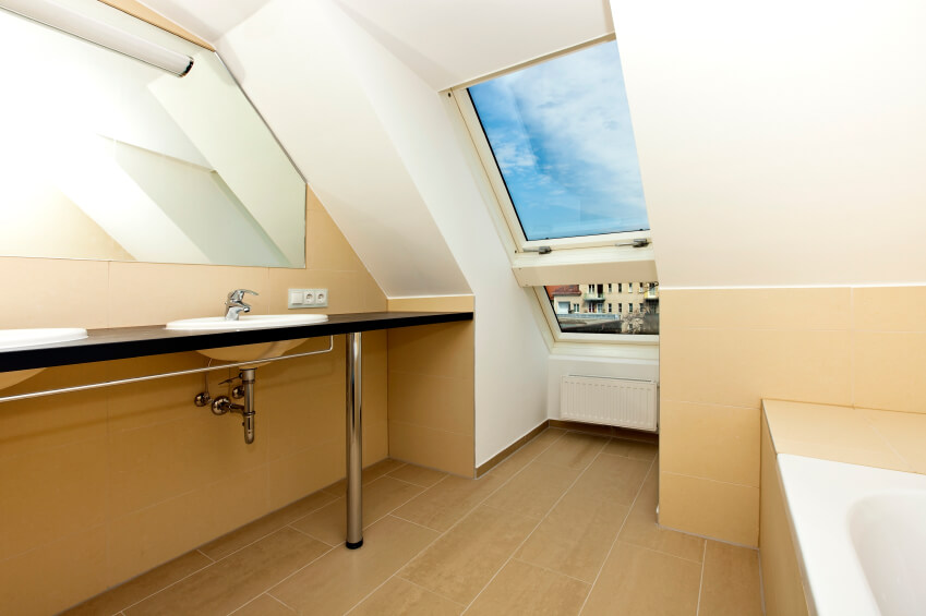 The Above Skylight Offers A Gorgeous Blue Sky With Cottony Clouds, While  The Rest Of