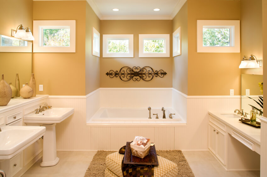 This Unique Bathroom Design Features Cream And Mustard Complementary Colors Along With A One Sink