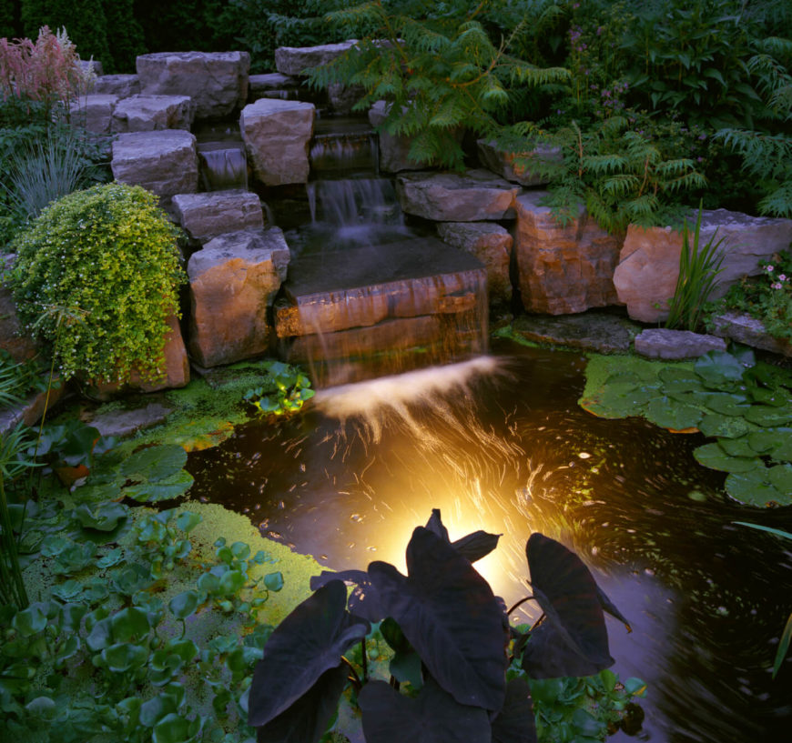 A final look at the pond at night the algae and other Backyard pond ideas with waterfall