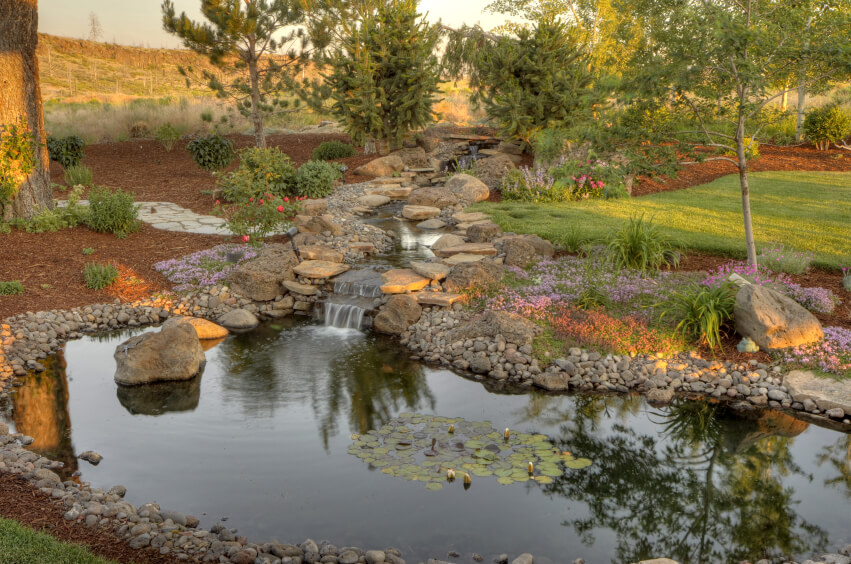 50 pictures of backyard garden waterfalls ideas designs for Large garden pond designs