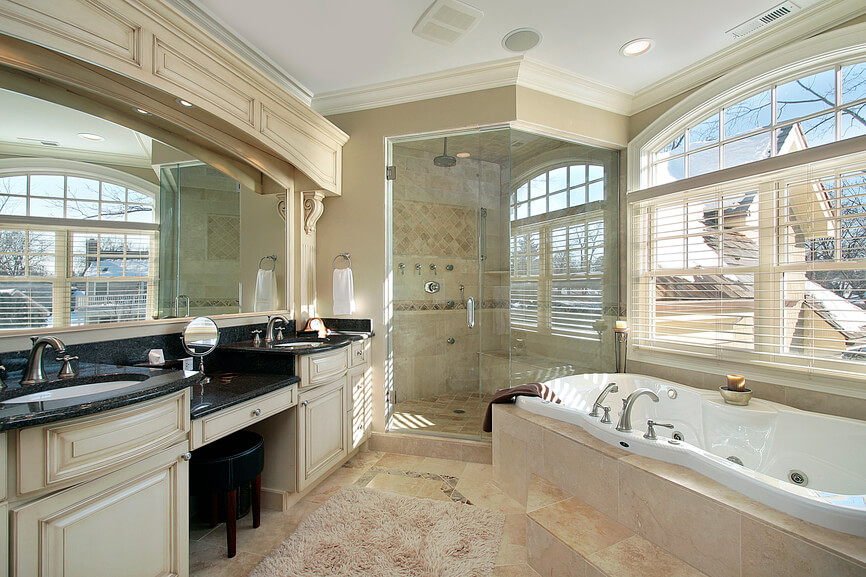 A Luxurious Bathroom Featuring An Exquisite Double Vanity