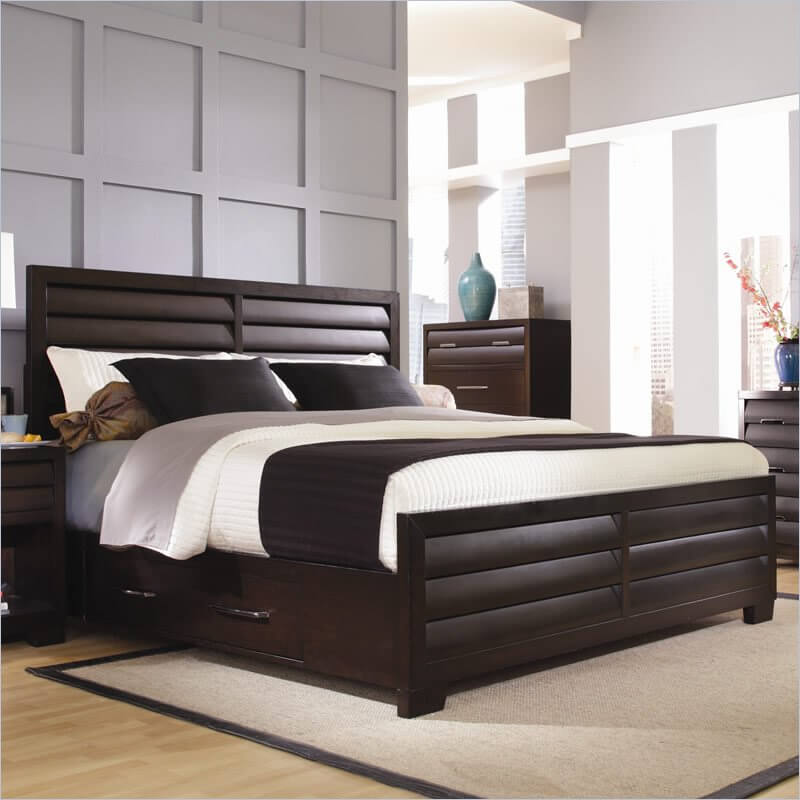a unique style bed with smokey nickel hardware and concave and louvered drawer fronts the