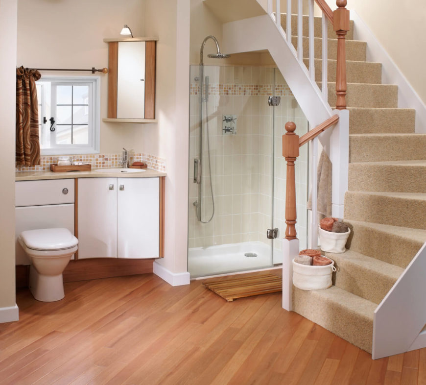 26 master bathrooms with wood floors pictures for Hardwood floors in bathroom
