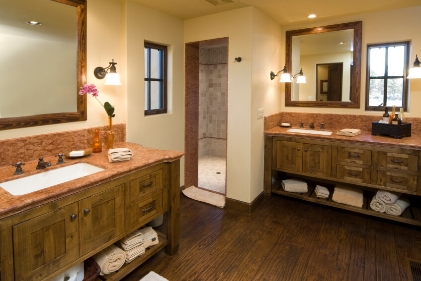 Another Bathroom Opting For Separate Double Vanities. The Rustic Woodwork  Of The Cabinetry Stands Out