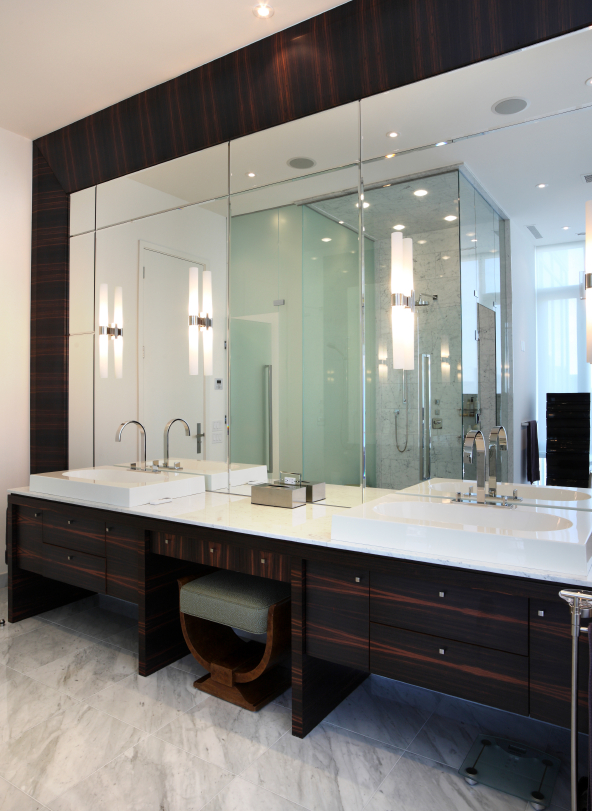 This beautiful bathroom space features cane faucets  modern basins  and a  sitting area 36 Master Bathrooms with Double Sink Vanities  PICTURES . Large Double Sink Bathroom Vanity. Home Design Ideas