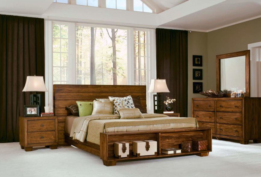 a rustic solid bed frame in sengon tekik javanese hardwood with a gorgeous natural wood