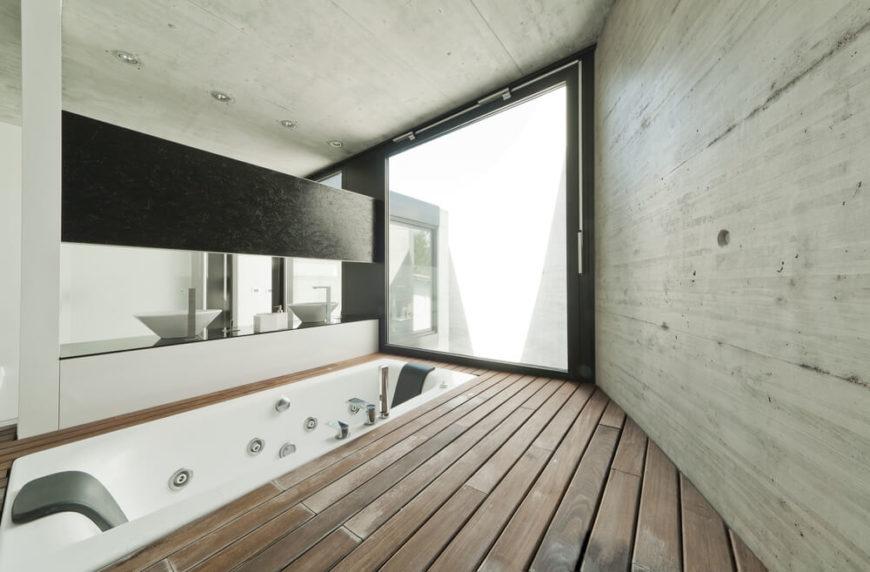 26 master bathrooms with wood floors pictures Worn wood floors