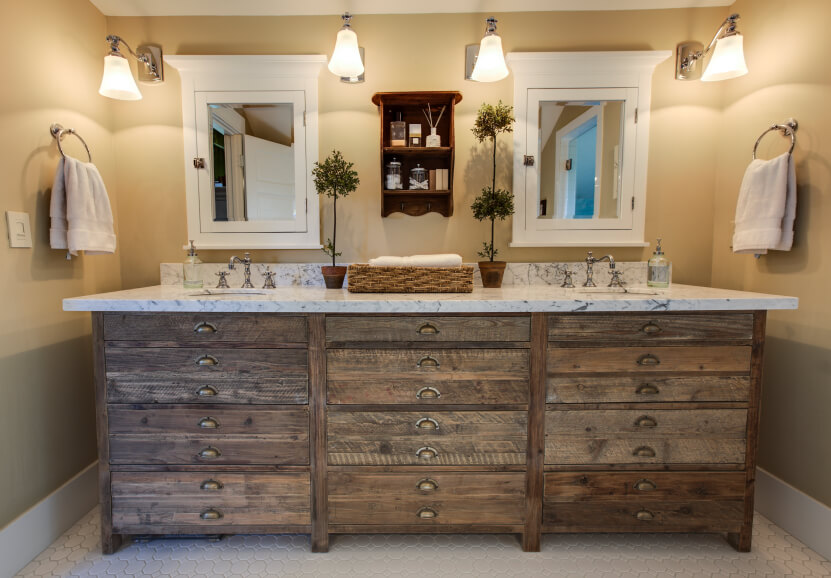 This Gorgeous Rustic Cabinet Features A Marbled Countertop With Two Inset Sinks Plenty Of Storage