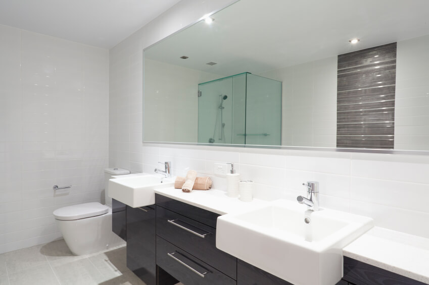 This Modern Black And White Double Vanity Features Deep Basins And Clean  Minimalistic Lines. A