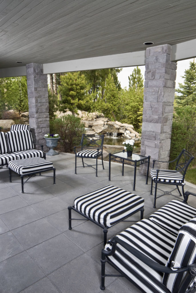 Superior Mesmerizing Black And White Striped Patio Furniture Provides A Striking  Contrast To The Light Gray Stone
