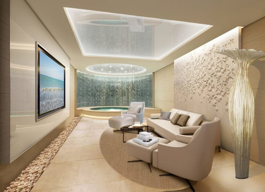 lighting in rooms. this upscale spa room features lavish details from a pebble lining on the floor to lighting in rooms