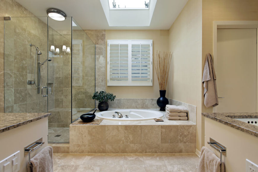 Simple Country Shutters Filter In Natural Light While A Skylight Allows Sunshine To Flood In