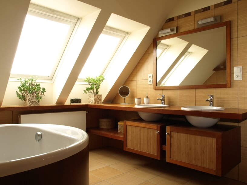 The Double Skylights Featured Above Cast A Comforting Haze Of Light Onto This Exquisitely Designed Bathroom