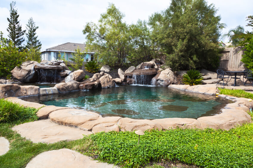 Backyard Swimming Pool Landscaping Natural Waterfall Design Ideas
