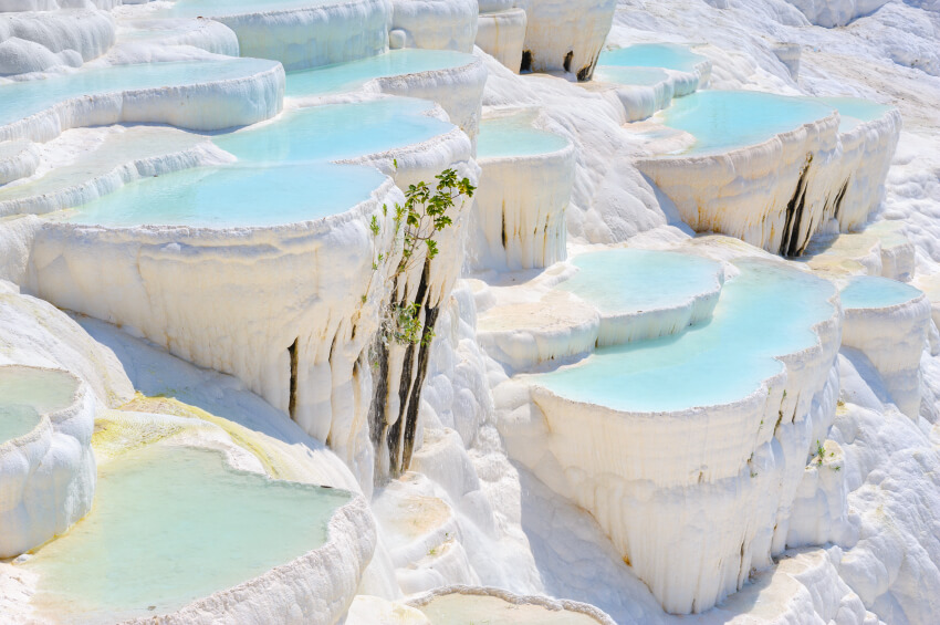 The Travertine pools in Turkey's Pamukkale. As a world heritage site, these mineral pools are a popular tourist attraction.