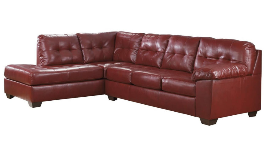 this super comfortable sofa features a sectional design a chaise lounge rich red