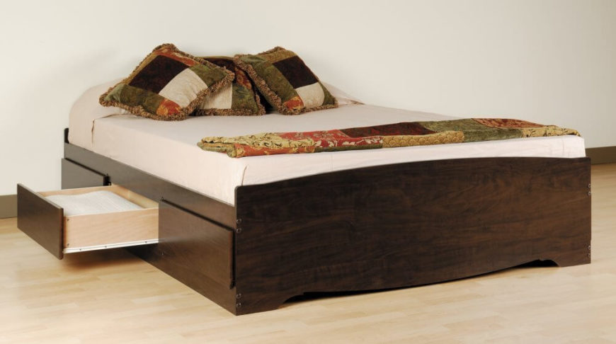 queen sized bed with storage