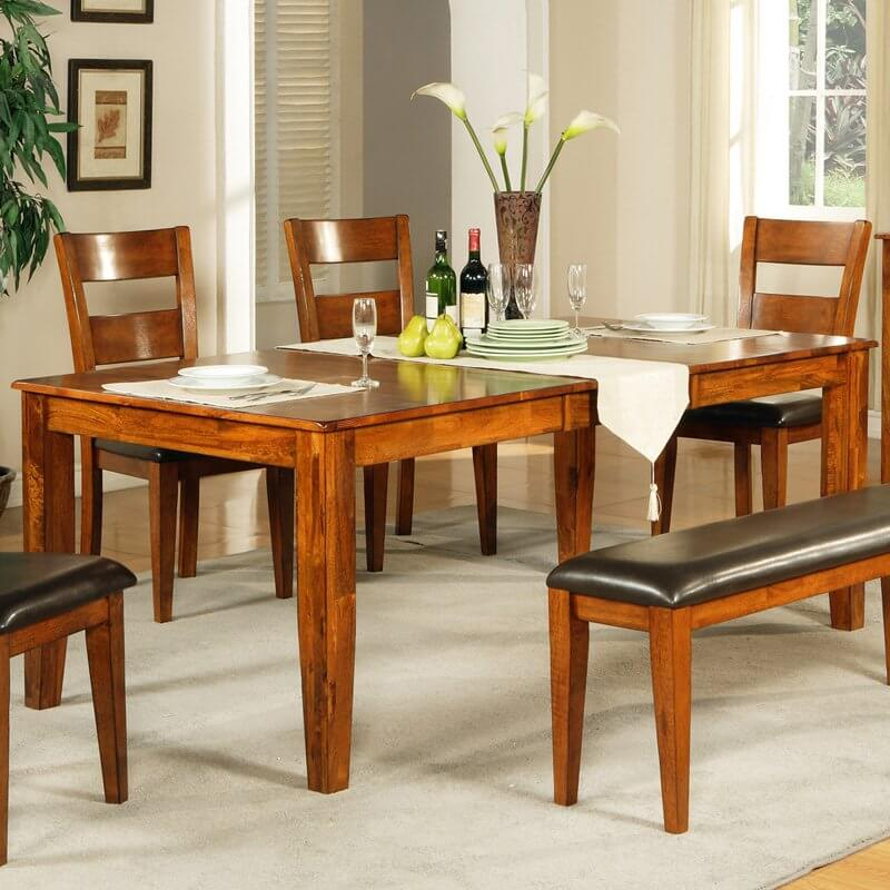 Awesome This Wood Dining Room Table Features A Brightly Welcoming Natural Wood  Tone, Rich With Textural
