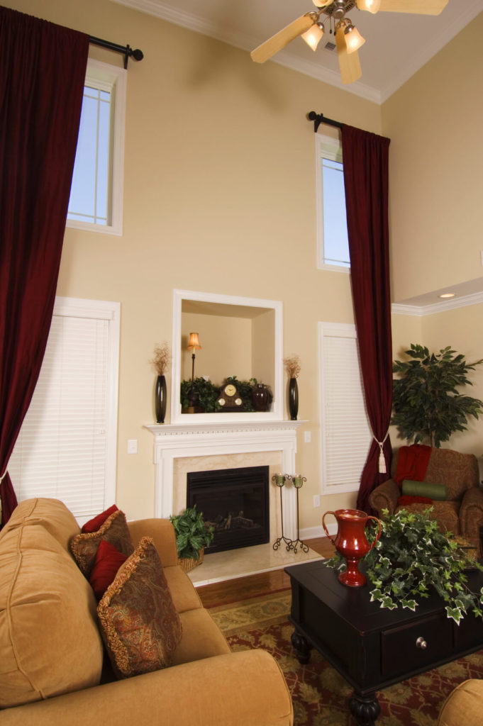Living Rooms With Curtains And Drapes Eclectic Variety - Deep red accent wall