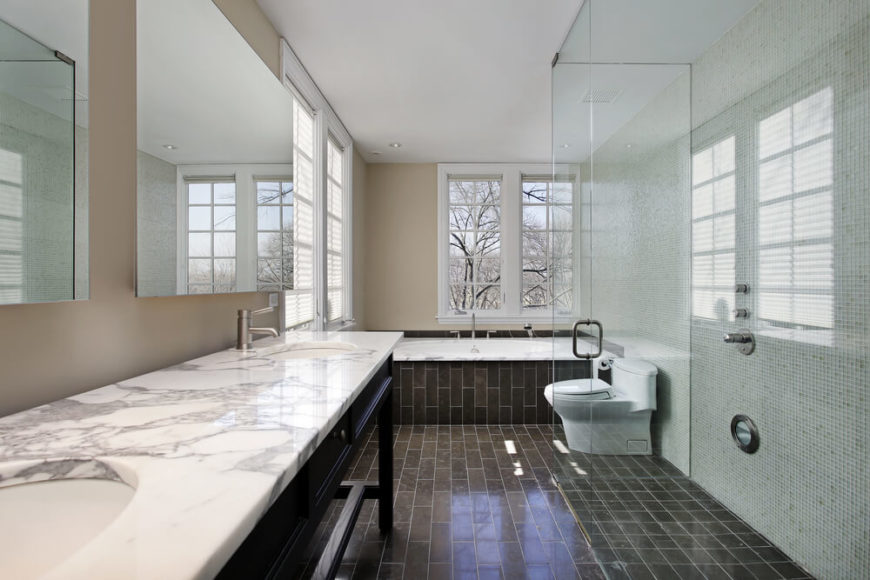 32 Bathrooms With Dark Floors
