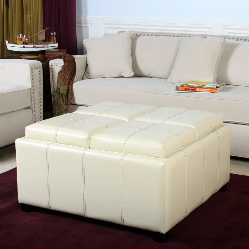 Large Ottoman Coffee Table Tray: 25 White Leather Ottomans (SQUARE & RECTANGLE
