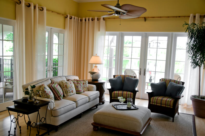 This Casual Living Room And Sunroom Has Bamboo Curtain Rods That Extend  Around The Perimeter Of Part 33