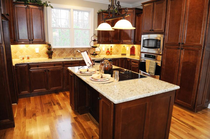 Maple Floors Blue Kitchen