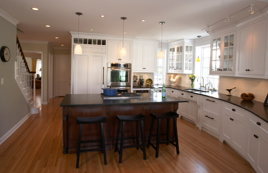 Kitchens Dark Island And White Cabinets And White Marble