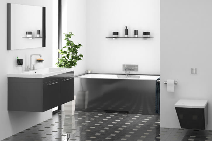 Small Bathroom With Dark Tile : Bathrooms with dark floors