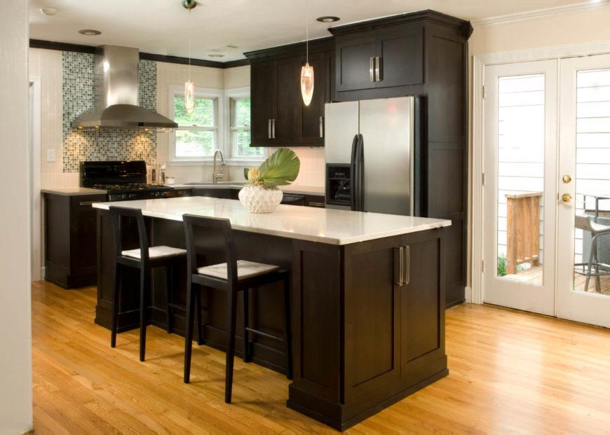 Glossy Wood Kitchen Cabinets