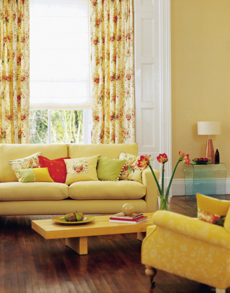 When Added To The Already Sunny Yellow Living Room, These Strawberry Motif  Curtains Add A