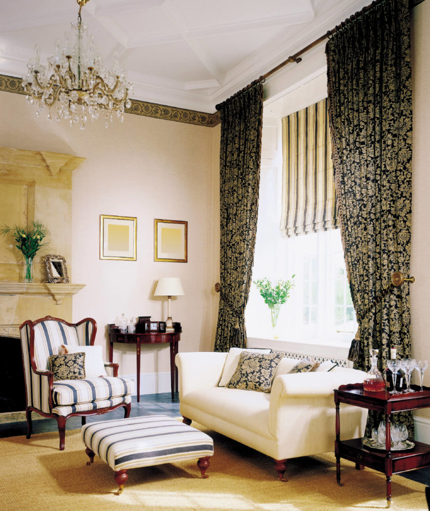 Living Rooms With Curtains And Drapes Eclectic Variety - Black and gold stripe drapery fabric