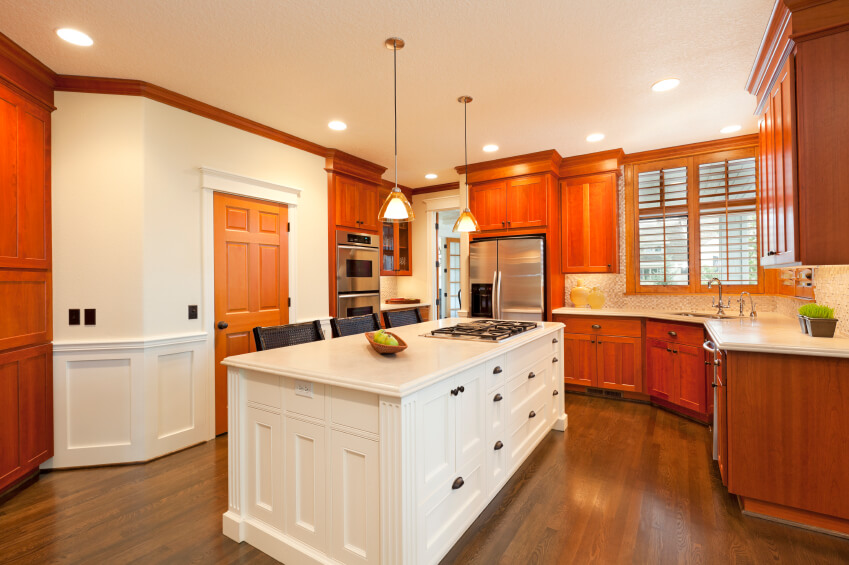 34 kitchens with dark wood floors pictures for Bright red kitchen cabinets