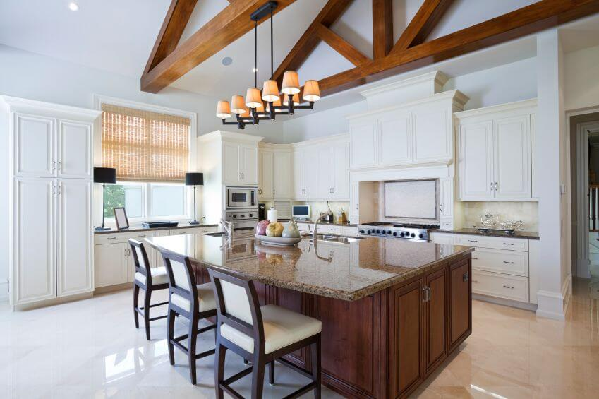 37 fantastic l shaped kitchen designs for Kitchen designs with cathedral ceilings