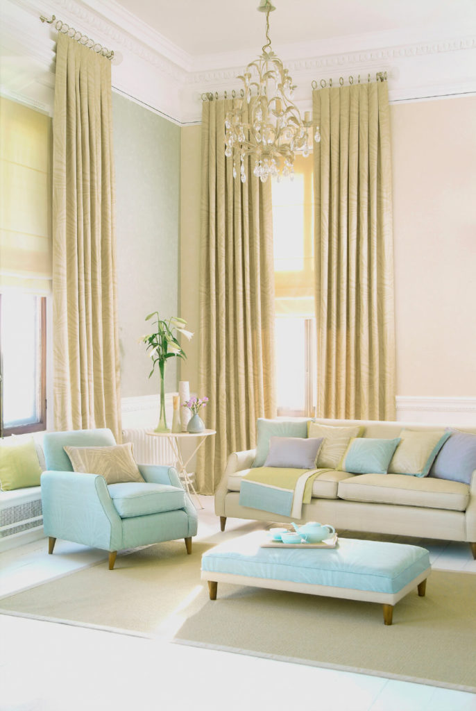 The Height Of These Curtains Lengthens Room And Adds Color To Neutral Walls