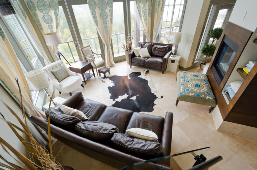 An Above View Of A Contemporary Living Room With Cowhide Rug This